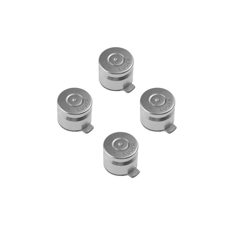 9mm ABXY Bullet Shell Button Mod Kit for PS4 PS3 PS2 Controller Joystick Silver