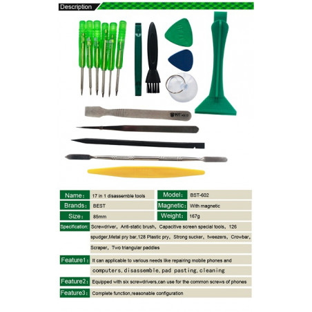 17-in-1 BST-602 Professional Repairing Tool Kit for iPhone / iPad / HTC/ Samsung/Other Mobile Phone