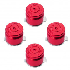 METAL BUTTON SET FOR DUALSHOCK 3 / 4 BULLET STYLE RED