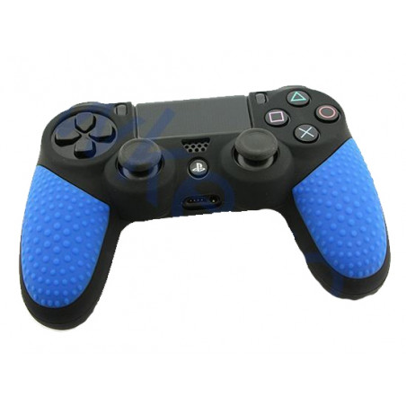 PS4 Dualshock 4 Controllers Black Silicone Protective Cover with Particle Grip Blue
