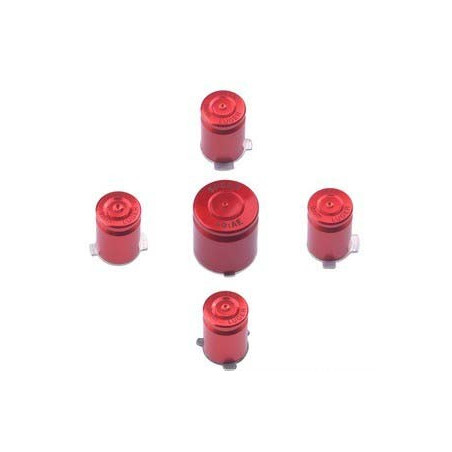 METAL ABXY WITH GUIDE BUTTON SET BULLET STYLE FOR XBOX 360 CONTROLLER RED