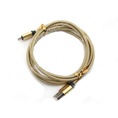 PS4 XBOX ONE 2m Braided Micro USB 2A Data Sync Charge Cable Gold