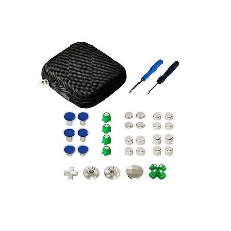 PS4 Controller 31Pcs Metal Swap Thumbstick Grip D-Pad and ABXY Button Set Blue