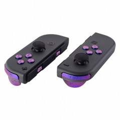 NS JoyCon Soft Touch 16 piece Button Kit Glossy Chameleon Blue / Purple