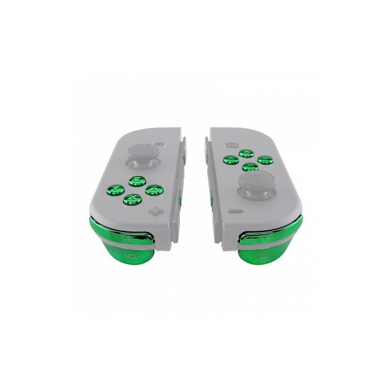 NS JoyCon Chrome 16 piece Button Kit Glossy Chrome Green