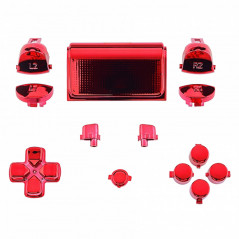 Dualshock 4 DS4 V2 Controller Button Set Glossy Chrome RED with Touchpad Cover