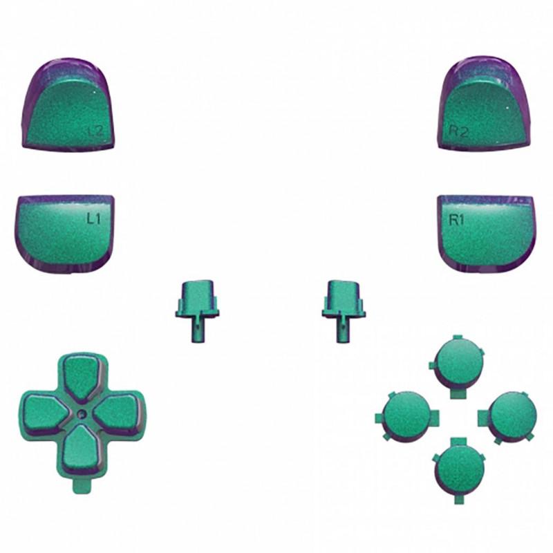 PS5 Dualsense Button Set Glossy Chameleon Green Purple