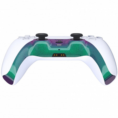 PS5 Dualsense Controller Plastic Trim with Accent Rings Glossy Chameleon Green Purple