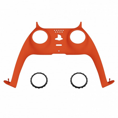 PS5 Dualsense Controller Plastic Trim with Accent Rings Soft Touch Bright Orange