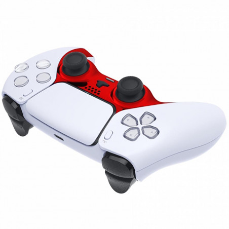 PS5 Dualsense Controller Plastic Trim with Accent Rings Glossy Chrome Red