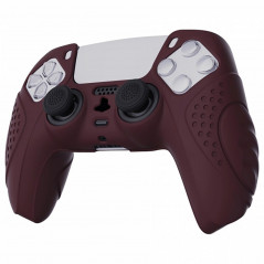 DS5 DUALSENSE CONTROLLER SURE GRIP SILICONE GLOVE With Black Joystick Caps Guardian Edition Wine Red