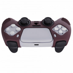 DS5 DUALSENSE CONTROLLER 3D STUD GRIP SILICONE GLOVE With 6 Black Joystick Caps Wine Red