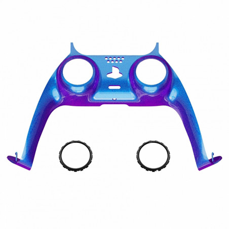PS5 Dualsense Controller Plastic Trim with Accent Rings Glossy Chameleon Blue Purple