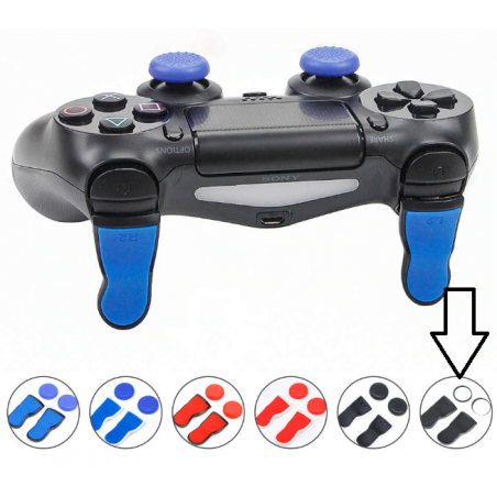 PS4 DS4 Extended L2 / R2 FPS Trigger Cap Pro Black with Clear Thumbcaps