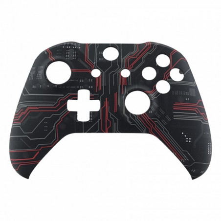 XBOX ONE S Controller Front Faceplate Art Series Soft Touch Red Black Circuit