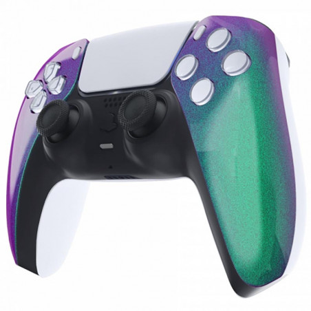 PS5 Dualsense Controller Front Shell With Touchpad Gloss Chameleon Green Purple