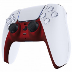 PS5 Dualsense Controller Plastic Trim with Accent Rings Soft Touch Vampire Red