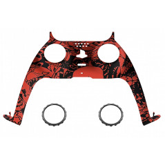 PS5 Dualsense Controller Plastic Trim with Accent Rings Soft Touch Red Skull